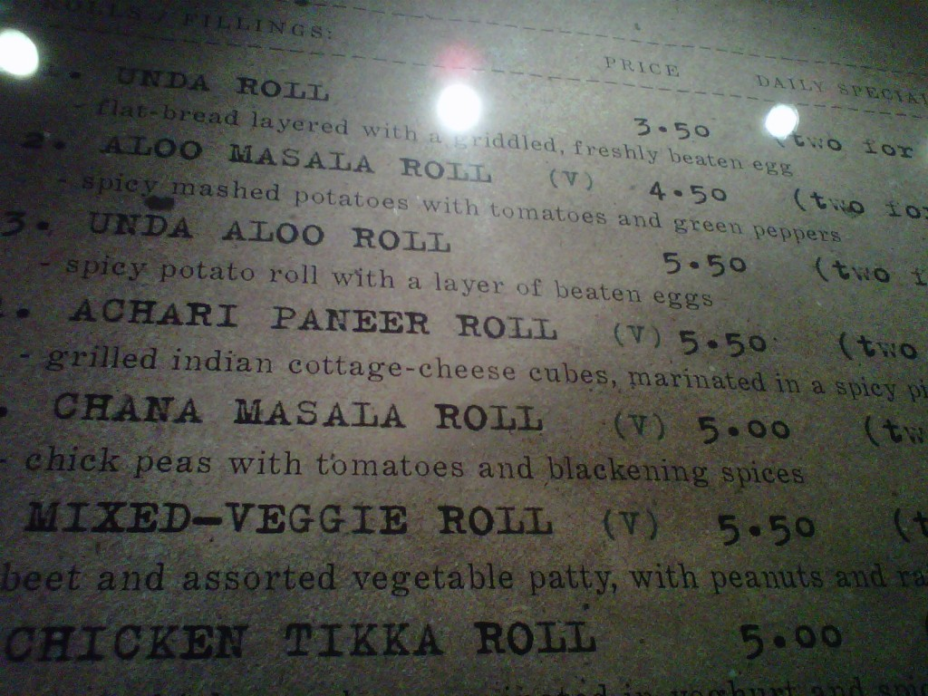 Vegetarian Highlights of the Kati Roll Menu