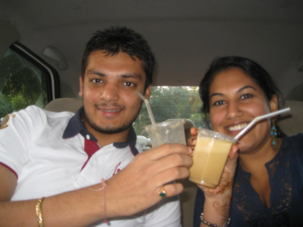 Enjoying Shambhu's Cold Coffee