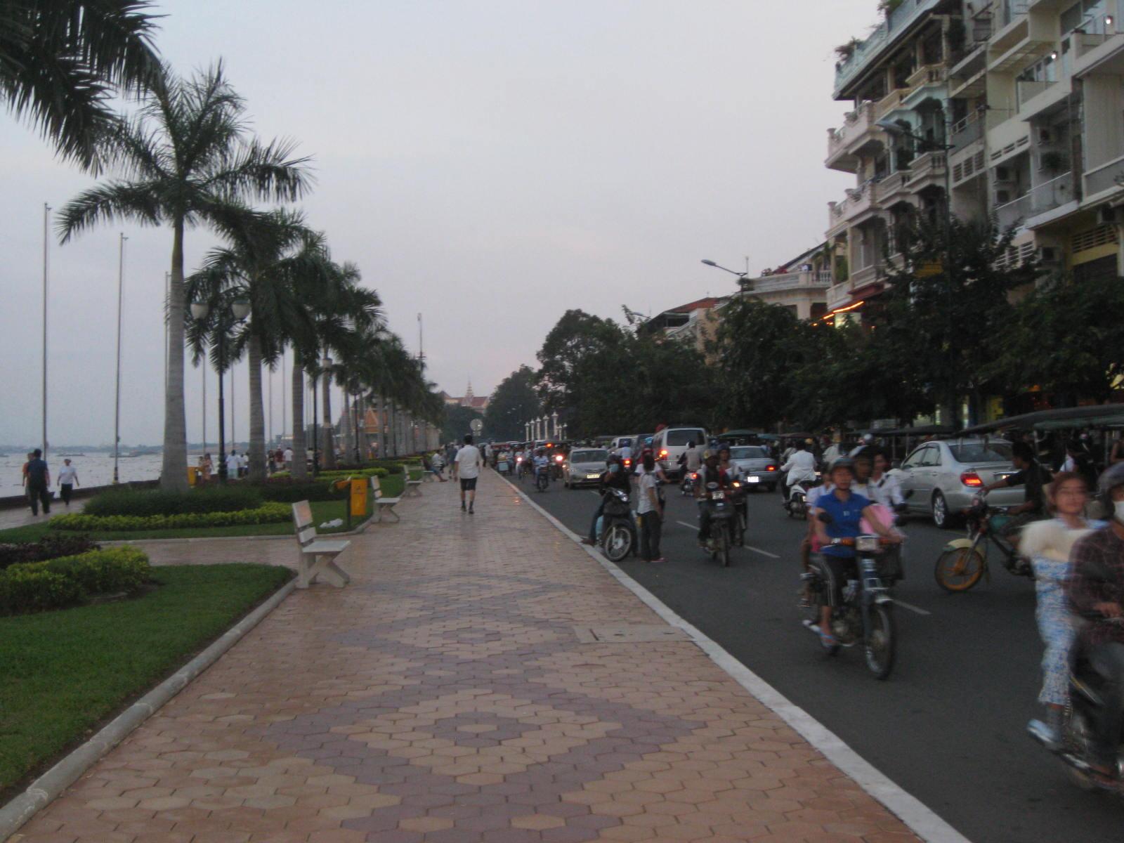 Promenade Along Mekong River In Phnom Penh