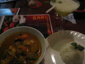 Khmer Vegetable Curry, Rice, Pineapple Basil Martini