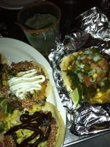 Vegetarian (left) and Vegan (right) Tacos