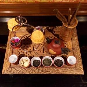 Beautiful Display Of Mooncakes And Tea