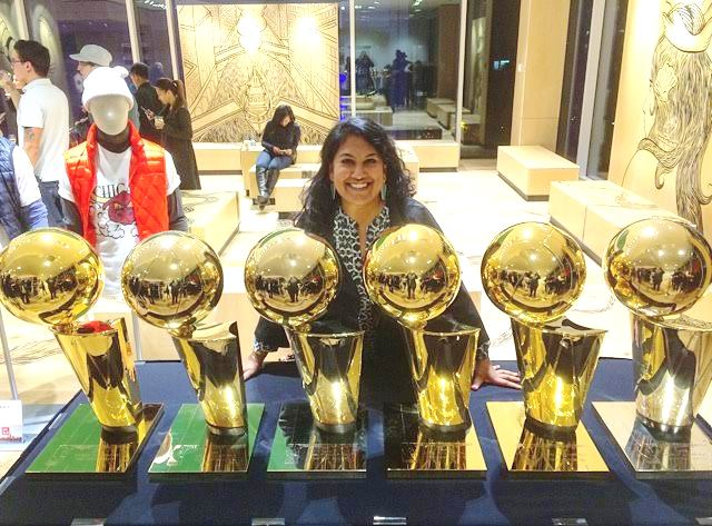 With All Six Bulls NBA Trophies At Uniqlo