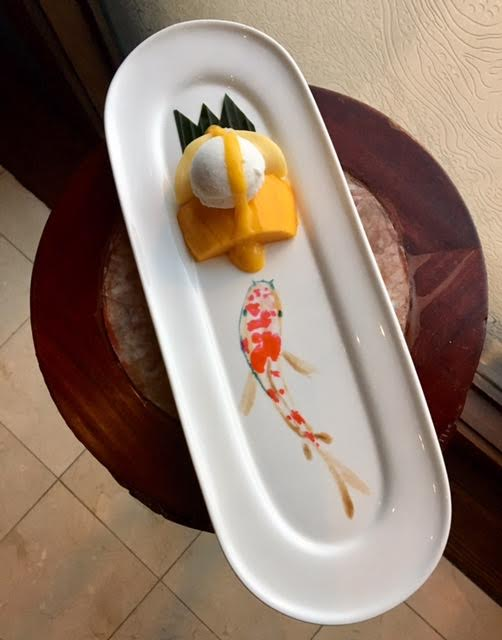 Mango Sticky Rice With Hand Painted Koi Fish