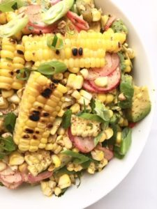 Roasted Corn, Avocado and Radish Side Salad