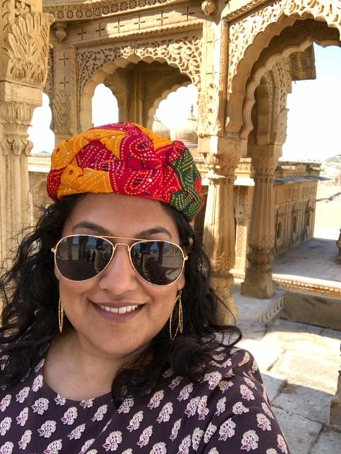 Sporting a Rajasthani Turban at Bada Bagh Jaisalmer