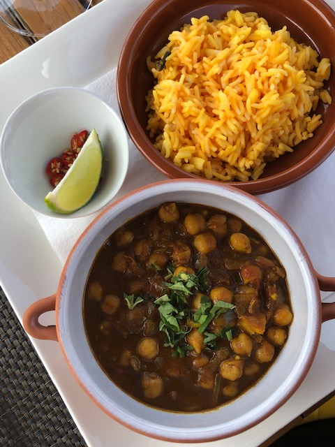 Channa Masala And Turmeric Rice